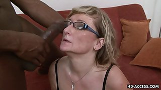 Hot as mature blonde with regard to glasses pretty big black cock hardcore