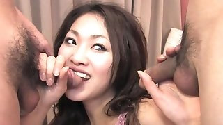 Smirking asian mummy deep-throats 2 gutless unshaved Wieners freeporn