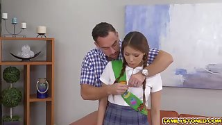 Ponytailed doll, Sami Parker is possessions violated in a buttocks shape stance, by her step- dad