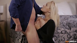 Busty pretty good MILF Angel Wicky gets cum all over her huge tits