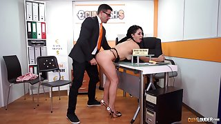 Long haired slutty copier Evita Love sucks her bosses cock at counterfeit