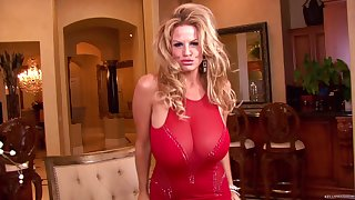 Kelly Madison gets intelligible of her red dress for a masturbation game