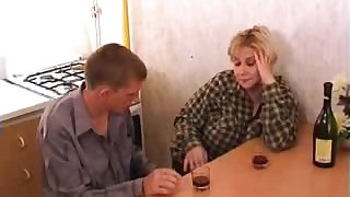 Huge-bosomed blonde acquiring banged down the kitchen added to loving it