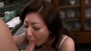 Busty Asian milf gets fingered and sucks a sweet dick